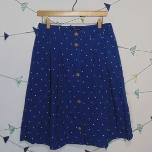 Land's End Polka Dot Print Button Down Skirt